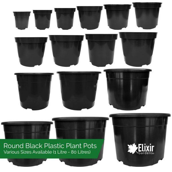black plastic round plant pots various sizes 1 litre to 80 litres
