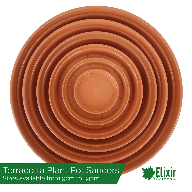 Plastic Garden Plant Flower Pot Saucers Terracotta Hydroponics Various Sizes Elixir Garden Supplies