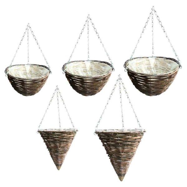 Rattan, wicker, hanging basket, natural, flowers, plants