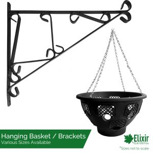 black easy fill hanging basket with optional wall bracket