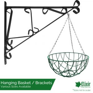 green wire hanging basket with optional wall bracket