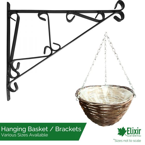 wicker rattan hanging basket available in cone or round, can be bought with wall bracket