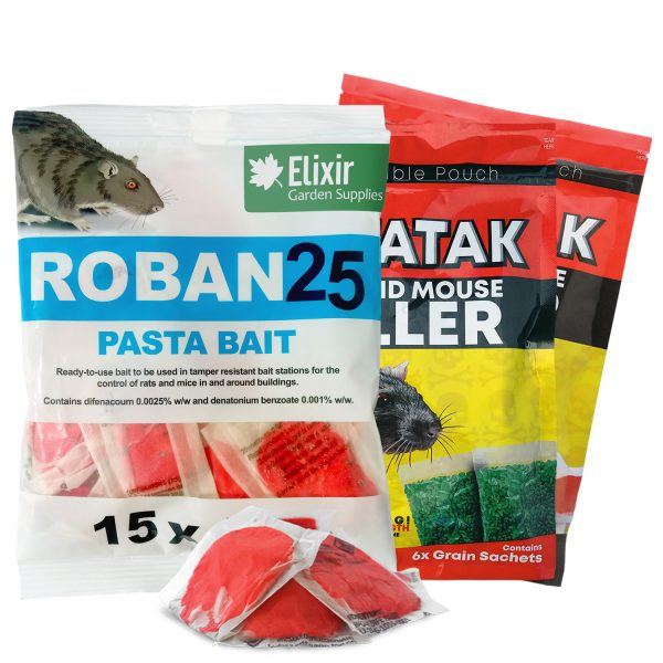 Roban25 Pasta Bait Rat Mouse Rodent Poison with FREE Ratatak bait when you buy 7 sachets of Roban Pasta