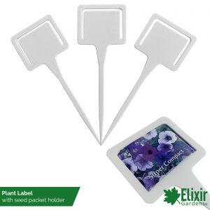 white plastic plant t label with seed packet holder